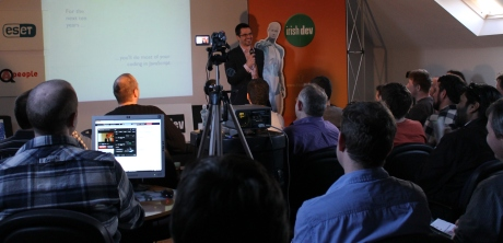 Richard Rodger presenting JavaScript at a recent Irish Software Developers' Network event at TCube